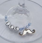 Moustache Personalised Wine Glass Charm